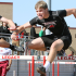 Sophomore Garrett Moore and Junior Kyle Dragulski race the 110 meter hurdles at Legacy's annual track meet.