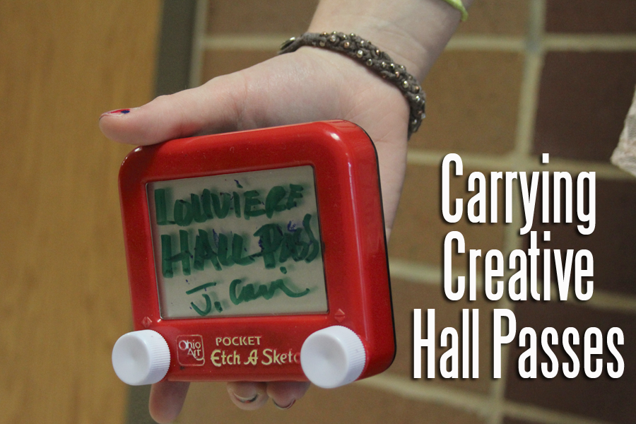 Mrs. Louviere Uses An Etch A Sketch For A Hall Pass.