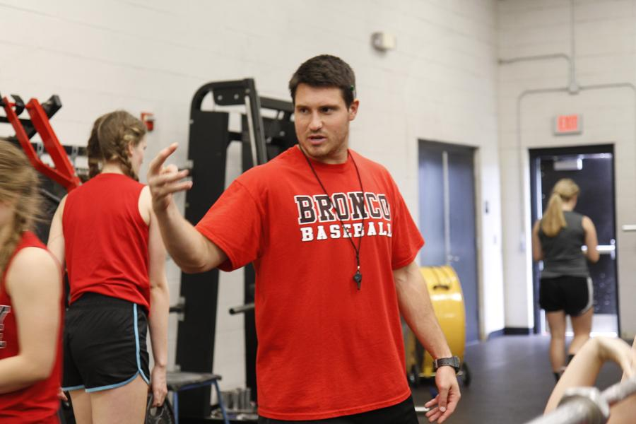 Coach Greer works with Volleyball and Basketball girls for strength and conditioning in 5th block