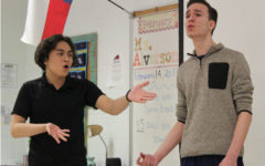 "Christian Hachet, 12, and Zach Cerda, 11, sing ""The Other Side"" from The Greatest Showman in order to prepare for their spring cabaret on Feb. 14. Theater"