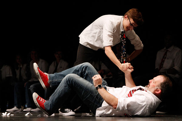 Ben Schnuck, 12, acts out a scene with Mr. Jeremy Ferman.