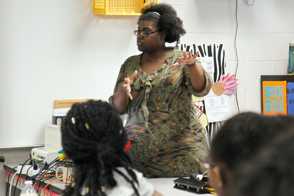 Ms. Michelle Alamudun leads a Ladies of Legacy meeting on Jan. 26 during advisory.