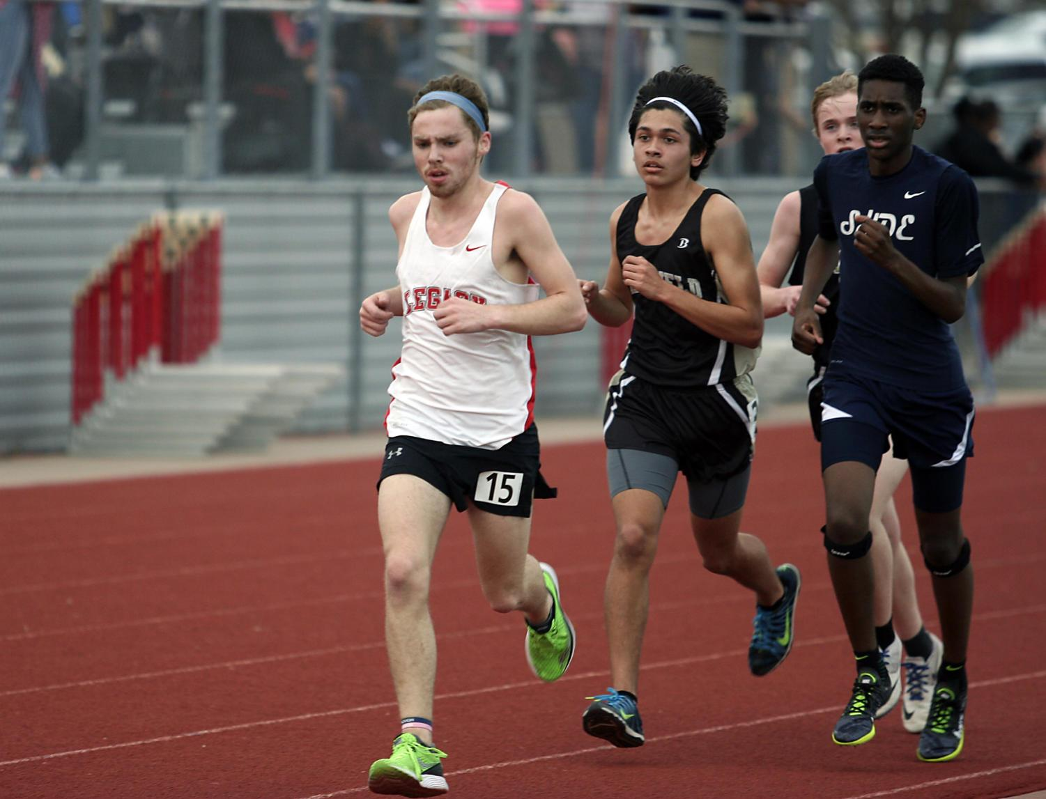 Senior Sam Troutt competes in a track meet.