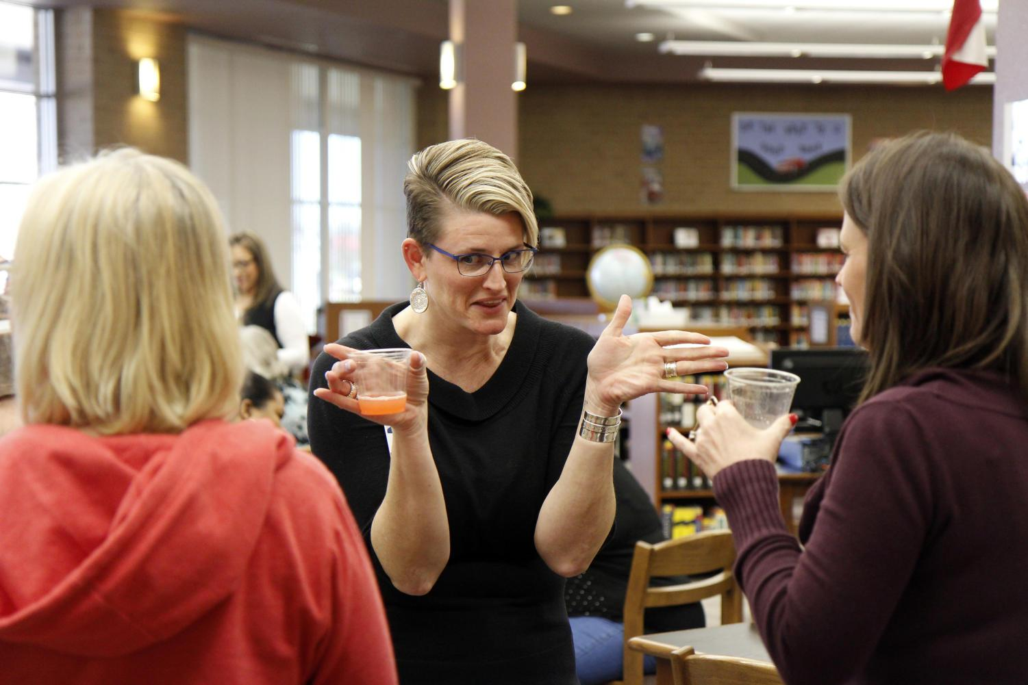 Academic Associate Principal Erin Frye celebrates at her going-away party. Ms. Frye will be leaving her job at Legacy during Spring Break to accept a Principal role at Alexander Elementary School in Duncanville, Texas