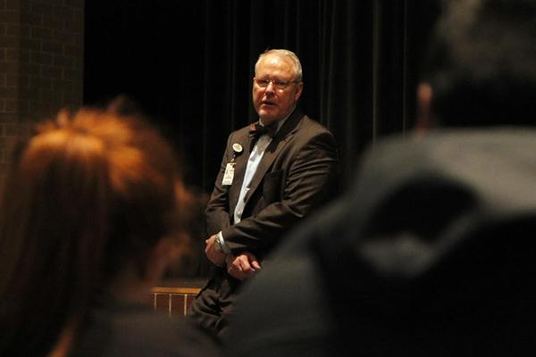 Superintendent Dr. Jim Vaszauskas meets with Legacy students to discuss safety, security, and their school. The discussion ranged from the aftermath of the Parkland shooting, to a Legacy walkout, to the district's response to past security threats. (Tori Greene photo)