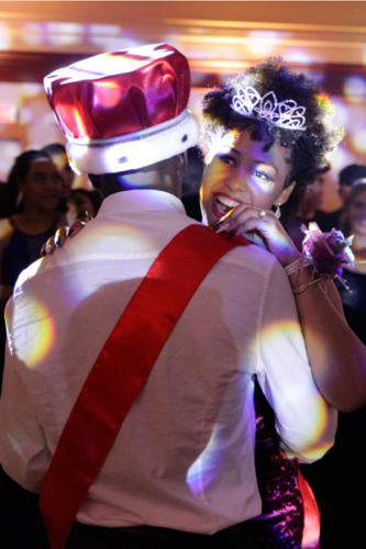 Isaiah Jones, 12, and Cyliest Smith, 12, dance together after winning Prom King and Queen. Smith was also awarded Best Dressed at prom. (Ellie Brutsché photo)