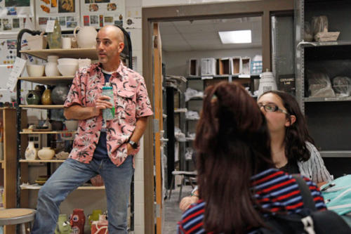 Mr. Shane Skinner announces the 2018-2019 Art Club student body after school in the art room. Art Club meets every other Tuesday in the art classrooms. (Alexa Ebert photo)